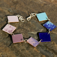 7 Squares enameled blue to purple bracelet.