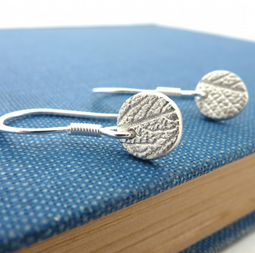 Round Mini Silver Leaf Earrings on Sterling Silver Hooks - Free UK Postage