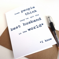 Best Husband in the World Card, Happy Birthday Husband Card, Free UK Postage