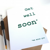 Funny Get Well Soon Card - Get Well Soon, We Miss You Card - Free UK Postage