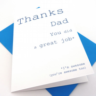 Thanks Dad Card, Happy Fathers Day Dad Card, Free UK Postage