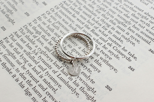 Silver Initial double ring set