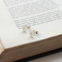 Silver initial earrings, personalised earring studs