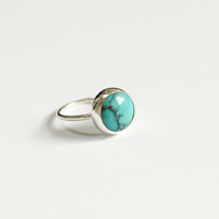 Turquoise ring, silver ring, Chinese turquoise