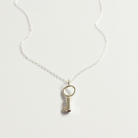 Silver key necklace, mini key