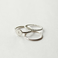 Silver initial stacking ring set