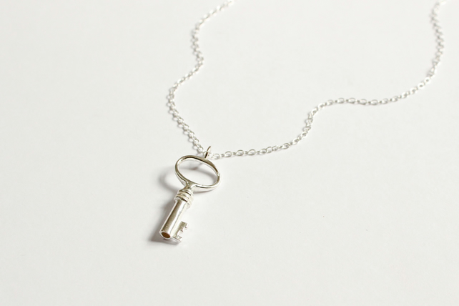 Silver key pendant, key necklace