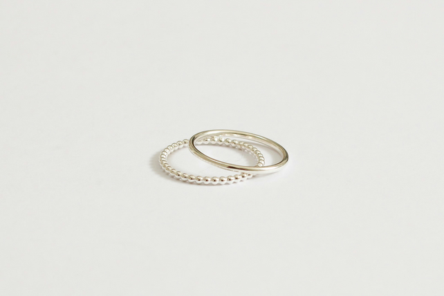 Stacking rings, pair of silver rings