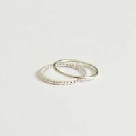 Silver stacking ring duo