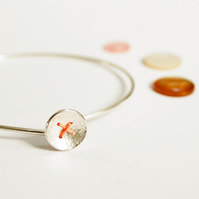 Silver button bangle