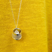 Thimble and button necklace, tailors thimble, silver necklace