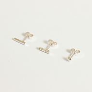 Set of 3 silver ear studs