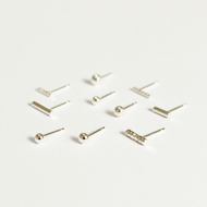Pair of mix and match silver ear studs