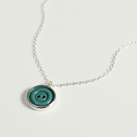 Vintage button necklace, silver necklace, retro button