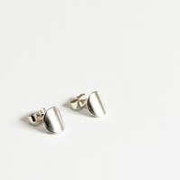 Silver disc earrings, contemporary earrings, silver studs
