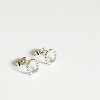 Spirit collection, circle earrings, silver circle studs