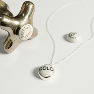 Vintage tap top necklace, silver necklace, typography