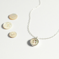 Vintage button necklace, silver necklace, mother of pearl button