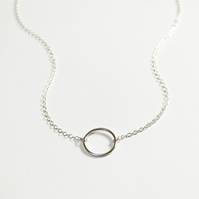 Spirit collection, circle necklace, silver circle