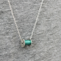 Cotton reel necklace, silver bobbin necklace