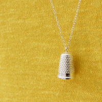 Thimble necklace, silver thimble necklace