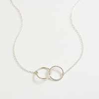 Circle necklace, silver necklace, interlinking rings