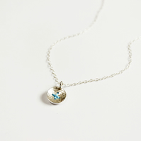 Silver button necklace, stitched button, textured silver