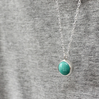Turquoise necklace, silver necklace, Chinese turquoise
