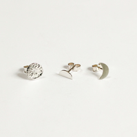 Moon cycle earrings, trio of silver moon earrings
