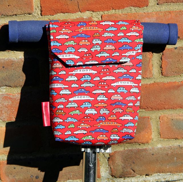 Roomy Micro Scooter or bicycle bag with red cars. Great gift for Boys