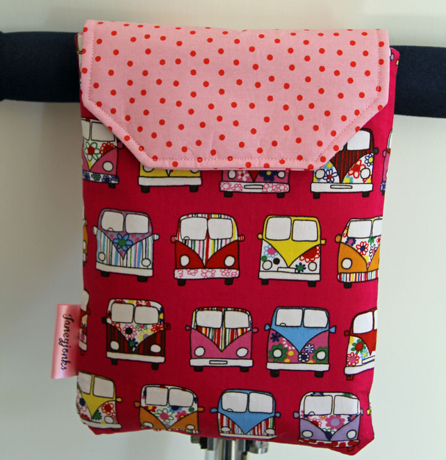 Roomy Micro Scooter or bicycle bag with pink VW vans. Great gift for girls