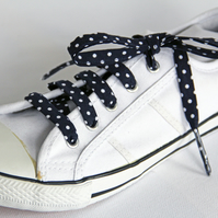 Retro Rockabilly Navy and White Polka Dot Patterned Cotton Shoelaces