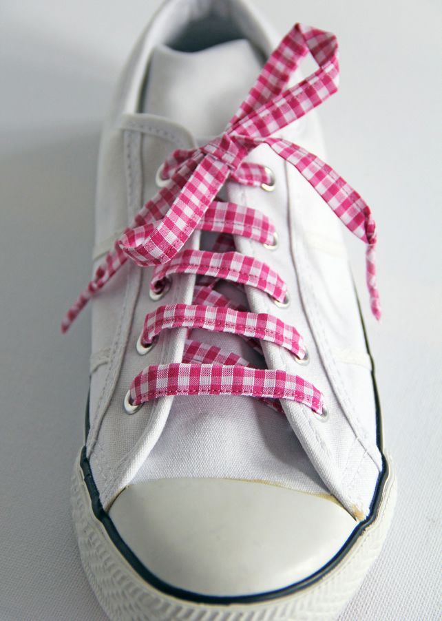 Retro Pink Gingham Patterned Shoelaces. Perfect for Girls. Summer Uniform
