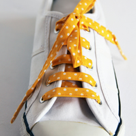Retro Rockabilly Yellow and White Polka Dot Patterned Shoelaces. Great Gift.