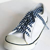 Retro Navy Gingham Patterned Shoelaces. Perfect for Girls. Summer Uniform