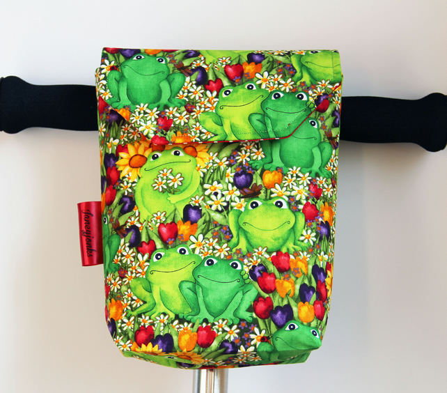 Cute Frogs with Flowers Micro Scooter or bicycle bag. Great gift for Girls