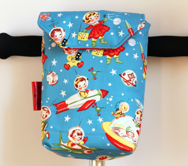 Cute Retro Rocket Rascals Micro Scooter or bicycle bag. Great gift for Children