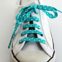 Retro Cute Rockabilly Sea Green Polka Dot Patterned Shoelaces. Great Gift.