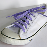 Retro Cute Rockabilly Lilac Polka Dot Spotty Patterned Shoelaces. Great Gift.
