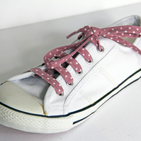 Retro Cute Rockabilly Dusky Pink Polka Dot Patterned Shoelaces. Great Gift.