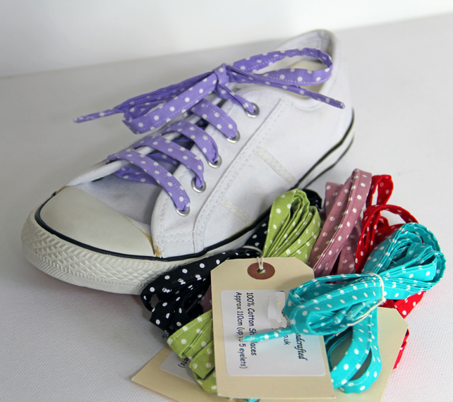 BULK BUY - 10 Pairs of Retro Rockabilly Polka Dot Patterned Cotton Shoelaces