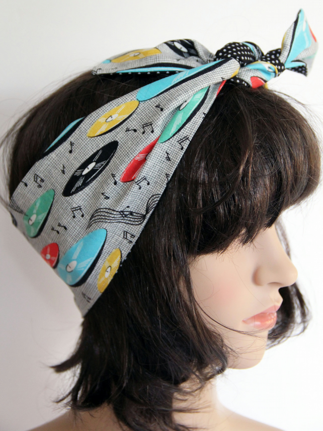 Retro Reversible Fifties Style Records Music Hair Wrap. Head Scarf. Bandana.