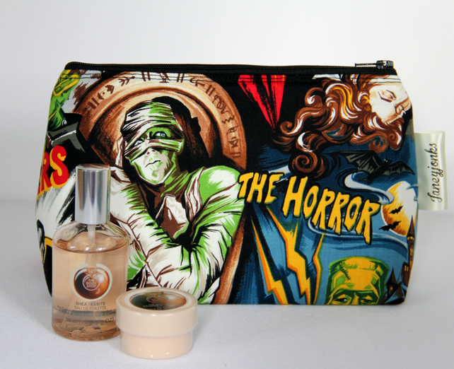 Retro Vintage Style Classic Horror Film Make-up Bag or Gents Grooming Kit Bag