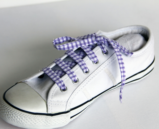 Retro Lilac Gingham Patterned Shoelaces. Perfect for Girls. School Uniform