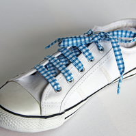 Retro Turquoise Gingham Patterned Shoelaces. Perfect for Girls. School Uniform