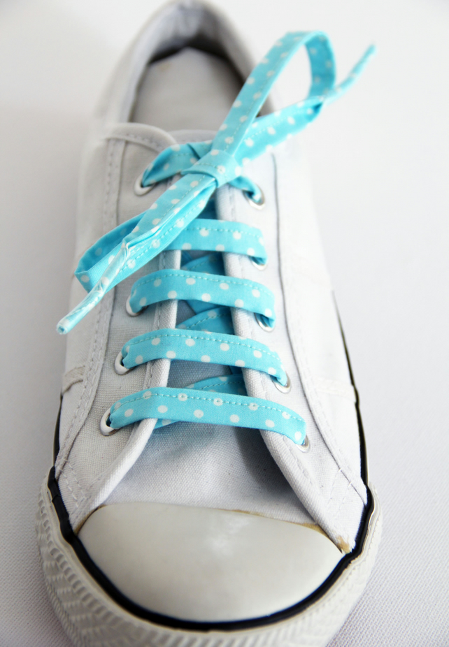 Retro Cute Rockabilly Turquoise Polka Dot Spotty Patterned Shoelaces Great Gift.