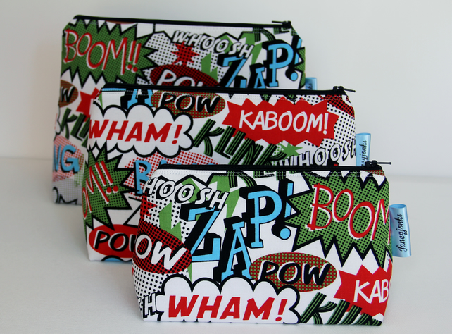 Wham! Zap! Boom! Comic Fabric Make-up Bag or Gents Grooming Kit Bag