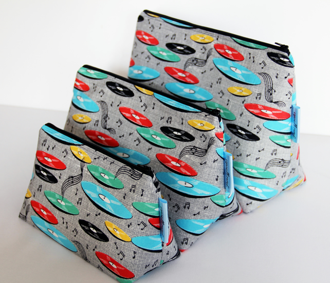 Retro Vintage Style Music Records Medium Wash Bag. Great Gift for Ladies