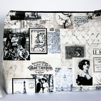 Retro Vintage Parisian Newsprint Style Large Wash Bag. Great Gift for Ladies