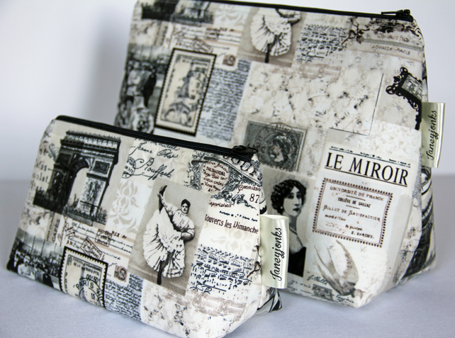 Retro Vintage Parisian Newsprint Style Make-up Bag. Great Gift for Ladies